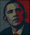 Constructed from the text of Obama's victory speech  on election night together with the iconic Hope/Progress image designed by Shepard Fairey